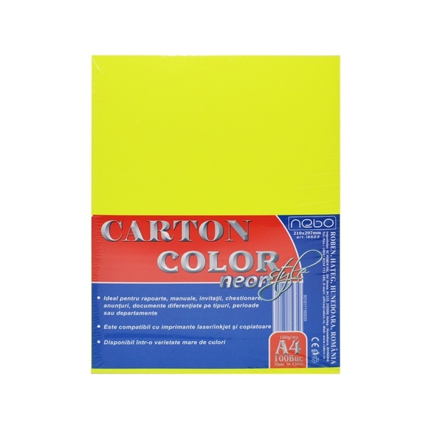 Carton color A4 180g NEON Set 100 - NEBO