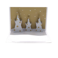 Felicitare 3D ORIGAMI - Three trees(gold/silver)